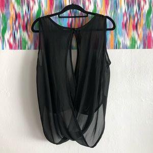 Estam black sheer sleeveless blouse